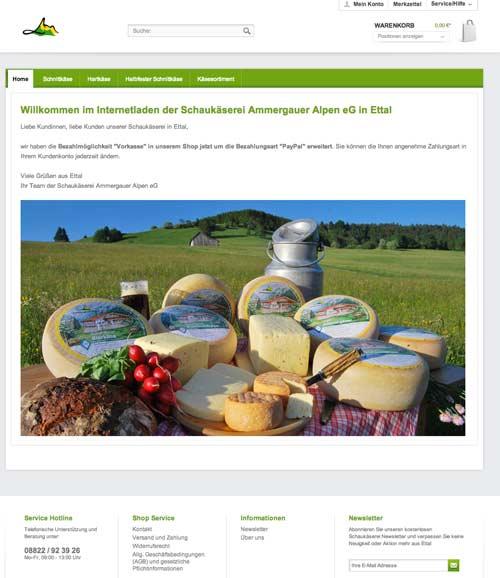 Durch Klicken auf das Bild gelangen Sie direkt zum Onlineshop der Schaukäserei Ammergauer Alpen eG in Ettal
